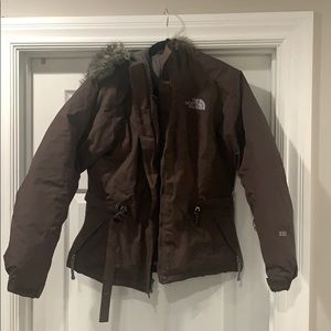 Brown Northface women's fur lined coat